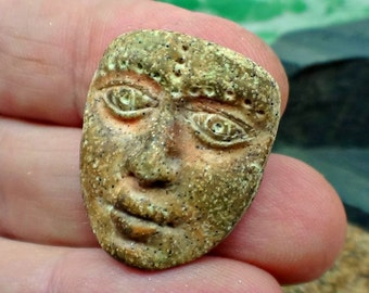 Artifact mask in simulated stone - Art Doll Face Cabochon in brown - handmade