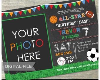 All-Star Birthday Bash Sports Invitation Chalkboard - Photo Soccer Basketball Baseball Football Party - Digital Invite