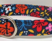 Navy Cherry Blossom Gardens Printed Handmade Dog Collar