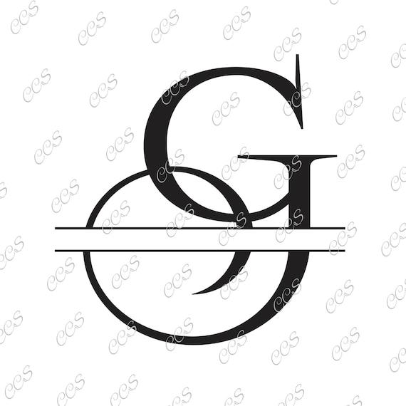 digital cut file split letters letter g g split g