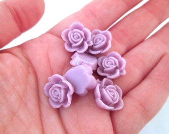 10 15mm lilac rose cabochons, cute round flower cabs
