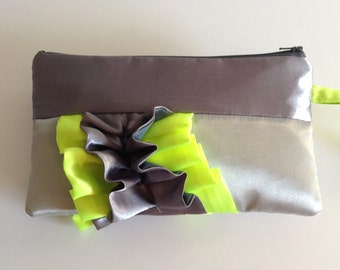Grey Silver Neon Yellow Curve Ruffled Clutch