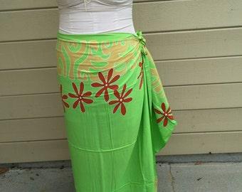 lime gree, tan and rust tattoo tiare premium Tahitian pareo, pareau, sarong, lavalava, tahitian dance
