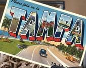 Vintage Large Letter Postcard Save the Date (Tampa, Florida) - Design Fee