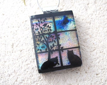 Cat Necklace, Cat Jewelry, Fused Glass Cat, Dichroic Pendant, Cat Pendant, Glass Necklace, Dichroic Glass Jewelry, Dichroic Cat,  080816p100
