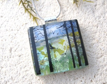Birds in Forest,Tree Scene, Dichroic Pendant, Necklace Included, Forest Necklace, Dichroic Jewelry, Fused Glass Jewelry,  080816p105