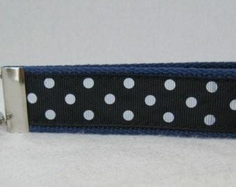 Polka Dot Key Chain - BLUE Dots Key Fob - Wrist Keychain - Large Key Fob - Handmade Key Ring