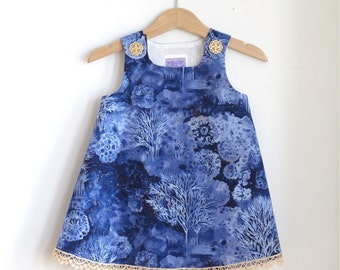 Blue Snowy Night Batik Baby Dress | Size 12 - 18 Months | Winter Scene Girls Dress with Vintage Lace | Children's Clothing Girls Fashion
