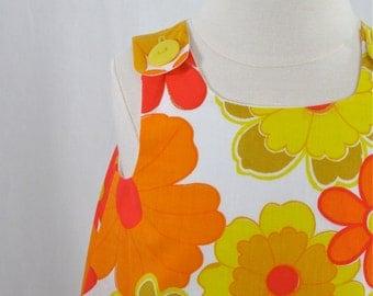 Flower Power Girls Dress - Orange & Yellow Bright Floral Dress -  Baby Dress, Toddler Dress, Girls Dress - Sizes Newborn to Girls 6