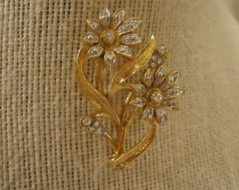 Vintage Gold and Silver Flower Brooch