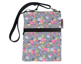 Crossbody Travel Purse also fits many tablets Kindle Fire /Nook Bag / iPad mini / FAST SHIPPING / - Dutch Floral Fabric