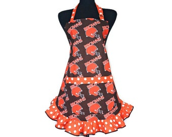 Cleveland Browns Apron for women, Retro Style ruffle, Adjustable with pocket, Football Kitchen Decor