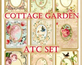 Cottage Garden Vintage ATC Set Digital Printable INSTANT DOWNLOAD
