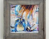 Original Horse Shoe Oil Painting 12x12 with barnwood frame horseshoe farrier art