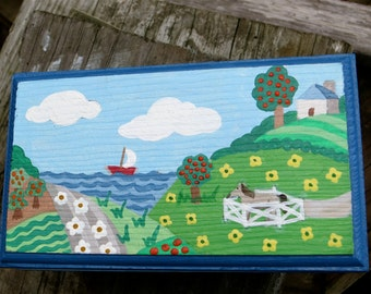 Child's Painted Keepsake Box, Landscape Jewelry Box, Primitive Scene Keepsake Box, Horse and Sailboat  Hand Painted On A Jewelry Box