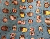 COTTON Fabric Yardage Owl Toss Blue