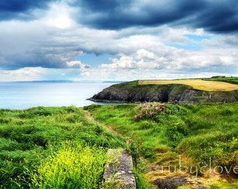 Horizon at Annestown, Waterford, Ireland, Copper Coast, Ireland Landscape Photo, Irish Ocean View, Irish Decor, Irish Sea, Ireland Cliffs