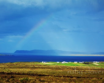 Ireland Rainbow, Donegal, West Coast of Ireland, Deep Blue Sky Photo, Sun Rays, Irish Weather, Lovely Day Photograph, Irish Decor, Pub Decor