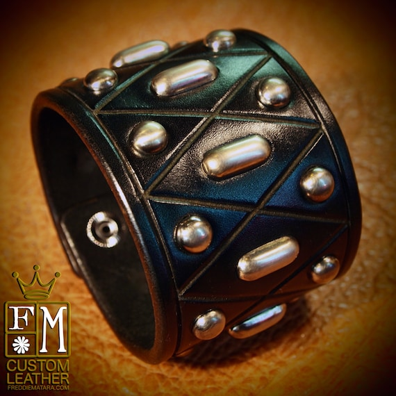 Black Leather cuff studded Bracelet Custom Made for YOU in NYC by Freddie Matara
