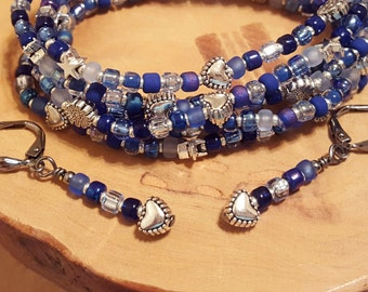 Shaded Sapphire blue stretchy seed bead bracelets with free bonus earrings SIZE EXTRA LARGE 8 inches