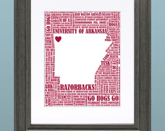 University of Arkansas Razorbacks Word Art Map 8x10 Inch Printable