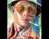 "Print 11x14"" - Fear and Loathing - Johnny Depp Pop Art Dr Gonzo Benicio Del Toro Las Vegas Hunter S Thompson Drugs Lowbrow LOL Spooky"
