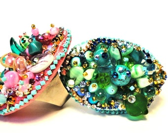 Beaded fantasy Cocktail Cocktail Rings, couture jewellery by Monikque, green-blue tones, pink-green-purple-blue multi tones