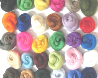 Wool Fibre Wool Yarn Roving Set of 4 random sample colors Needle Felting Hand Spinning NEW materials