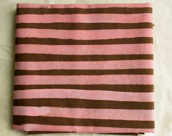 Two Stripes Hand Dyed and Patterned Cotton Fabric/ Coral and Chocolate Brown