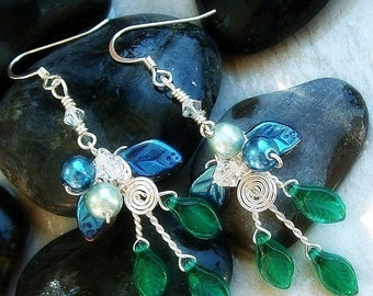 ON SALE Art Nouveau Earrings Rivendell Spring Elven Forest