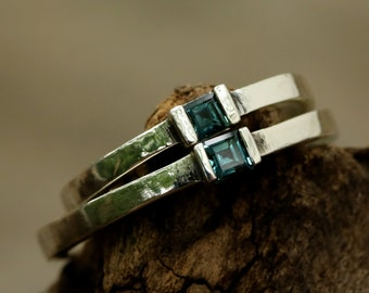 Wedding band set London blue topaz gemstone faceted in sterling silver high polished band