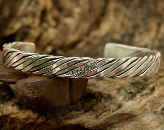 Men bracelet silver braided wrap with diamonds