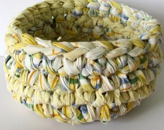 Gift Basket - Handmade  Bowl - Yellow Basket - Bedroom Decor - Woven Basket - Kitchen Decor - Organizer - Ecofriendly Home - Country Home