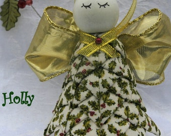 Quilted Fabric Angel Christmas Ornament - Holly
