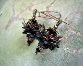 Dark Moon Lotus Earrings with Midnight Black & Antiqued Copper Petals, Victorian Faery Style by Elksong Jewelry