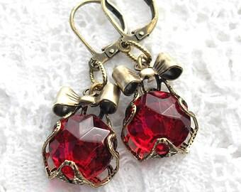 Ruby Red Glass Jewel Bowtie Dangle Earrings