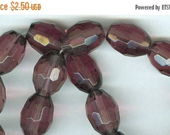 CLEARANCE 10x13mm Dark Purple Faceted Glass Oval Beads