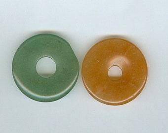 Set 2 30mm Green and Red Orange Aventurine Gemstone Pi Donut Focal Pendant 468
