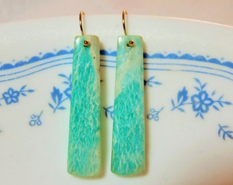 Natural Amazonite Semiprecious Smooth Light Blue and White Rectangle, and 14K Solid Yellow Gold Earwires