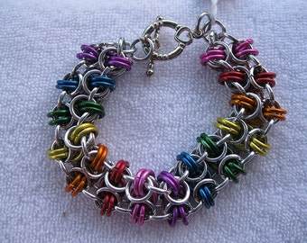 Rainbow Butterfly Weave Chainmaille Bracelet