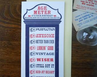letterpress customizable vintage arcade age happy birthday meter greeting card