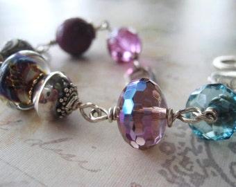 Heart Bracelet, Sterling Silver, Lampwork Bead, Karen Hill Tribe, Sterling Heart, Vintage Beads, Bali Sterling Bead, Plum beads, candies64