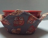 Microwave Bowl Cozy or Potholder Rustic Owls Fabric