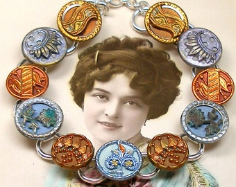 "1800s BUTTON bracelet, Victorian FLOWERS & twinkles, 7.5"" Antique button jewellery."