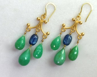 XLarge Chrysoprase Dramatic Earrings with Kyanite in 22kg vermeil...