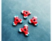 Handmade lampwork glass flower bead set by Lori Lochner  artisan glass jewelry and textile design supplies