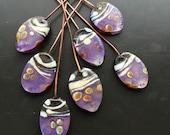 Handmade lampwork glass bead headpin set  by Lori Lochner 7 amethyst and black glass headpin pendant set artisan hewelry supplies rustic