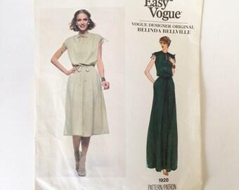 Vintage Vogue Paris Original Sewing Pattern Belinda Bellville 80s Sleeveless Dress Vogue 1928 34 Bust
