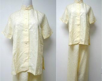 "SAKS FIFTH AVE . oriental style . 2 piece pajama set . size 34 / 28"" high waist"