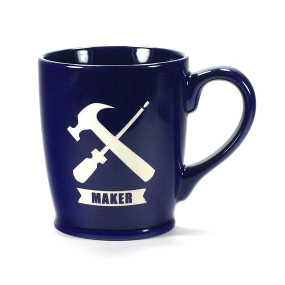 Navy Coffee Maker ~ Handyman maker navy blue coffee mug